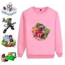Mario Bros Cartoon Anime Hot Illustration Printed Unisex Casual Fashion Sweatshirt Cotton Sweatsuit Gift A193161
