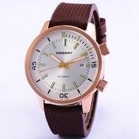 Deberg 44,5 мм Мужские автоматические часы две короны 5 АТМ водонепроницаемые наручные часы Rosegold резиновый корпус механические часы с ремешком