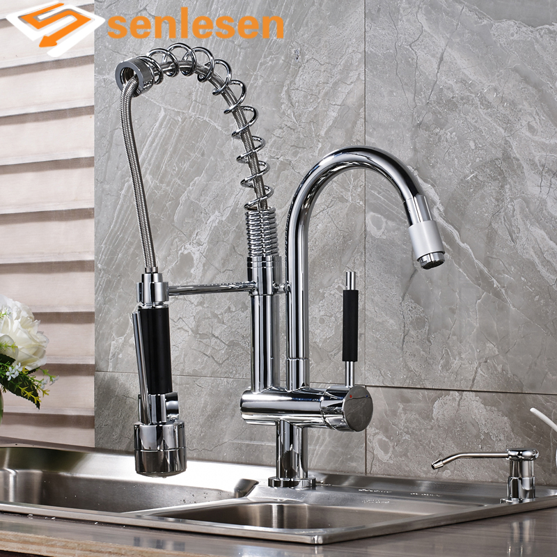 Chrome Finish Deck Mounted Single Handle Kitchen Spring Mixer Faucet with LED Light brand new deck mounted chrome single handle bathroom