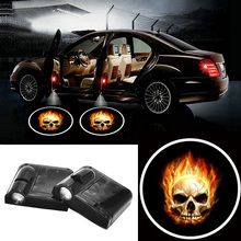 Volkrays 2 X Wireless Car Door Light Laser Welcome Ghost Shadow Projector Fire Skull Logo Light for Mitsubishi Outlander Pajero