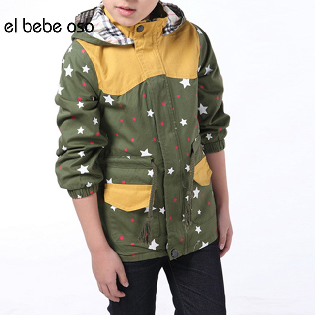 el bebe oso Boys Jacket Big Kids Spring & Autumn & Winter Child Hooded Medium-long Zipper Baby Outerwear Boy Trench Coat XL519