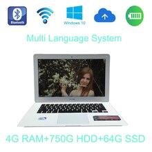 1366×768 P FHD экран Windows 7/8/10 системы 14 дюймов ноутбук Intel Celeron J1900 2.0 ГГц 4 г ОЗУ 750 ГБ HDD и 64 г SSD для получения скидки