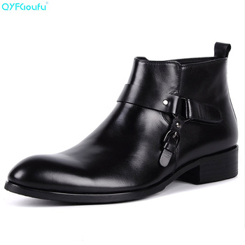 QYFCIOUFU Fashion Boots For Men Genuine Leather Quality Cow Leather Ankle Boots Zipper Buckle Black Wine Red Mens Dress Boots
