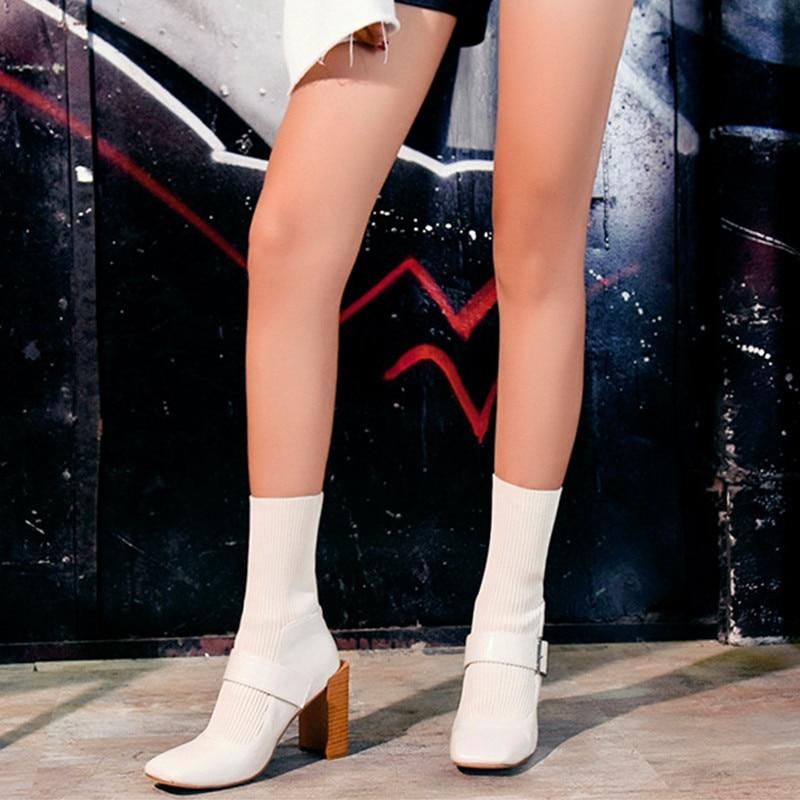 Cuadrados Hebilla Con Botines Blancos Negra 2018 negro Gladiador Tacones 9 Botas Beige Nuevo Tela Cm Altos De Diseño Mujer Calcetines Invierno x7TKqzta