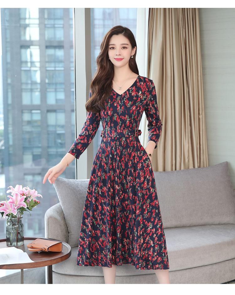 Autumn Winter New 3XL Plus Size Vintage Midi Dresses 2018 Women Elegant Bodycon Floral Dress Party Long Sleeve Runway Vestidos 24