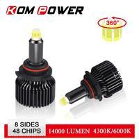led white car KOM POWER Car Headlight Bulbs Led HB4 9006 Auto Headlamp 4300K 6000K Light 9005 HB3 9012 HIR2 14000LM Cool White H1 H7 H11 Led (1)