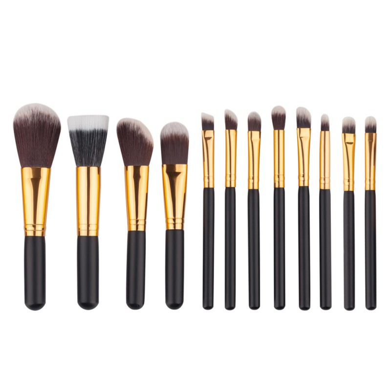 12 Pcs Black Golden Wood Blending Makeup Brush Set Professional Cosmetic Brush Kit Make Up Brushes Tools Beauty pincel maquiagem when the ball drops