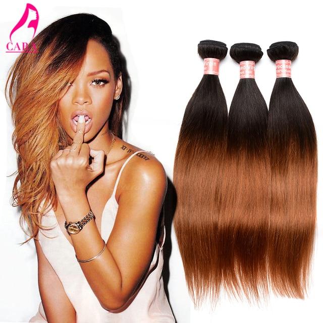 7a Ombre Human Hair Extensions Peruvian Virgin Hair Straight 3pcs