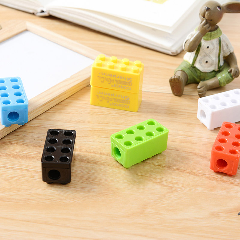Student Cute Cartoon Kawaii Toy Brick Plastic Standard Pencil Sharpener For Kids Creative Gift School Supplies 6305