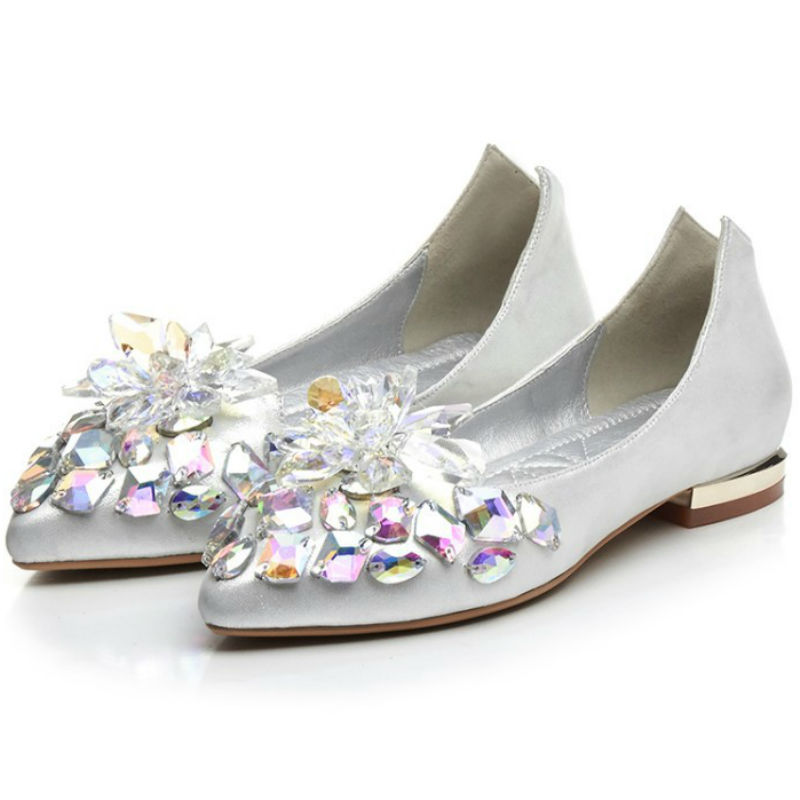 ФОТО New sweet style Real leather upper & liner 2017 women summer flat heel single shoes ladies pointed toe crystal ballet flats