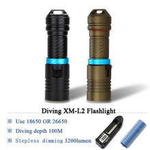 100M underwater worklight xm l2 scuba diving flashlight led lantern lampe torche waterproof torch flashlight 26650 or 18650 50w 5 xm l2 led scuba diving flashlight underwater 80 m flash light torch diver portable lantern 18650 26650 battery charger