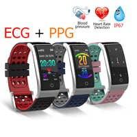 2019 EKG EKG monitor ciśnienia krwi opaska monitorująca aktywność fizyczną 0.96 calowy kolorowy ekran UI IP67 wodoodporny, długi czas czuwania inteligentny zegarek mężczyźni kobiety