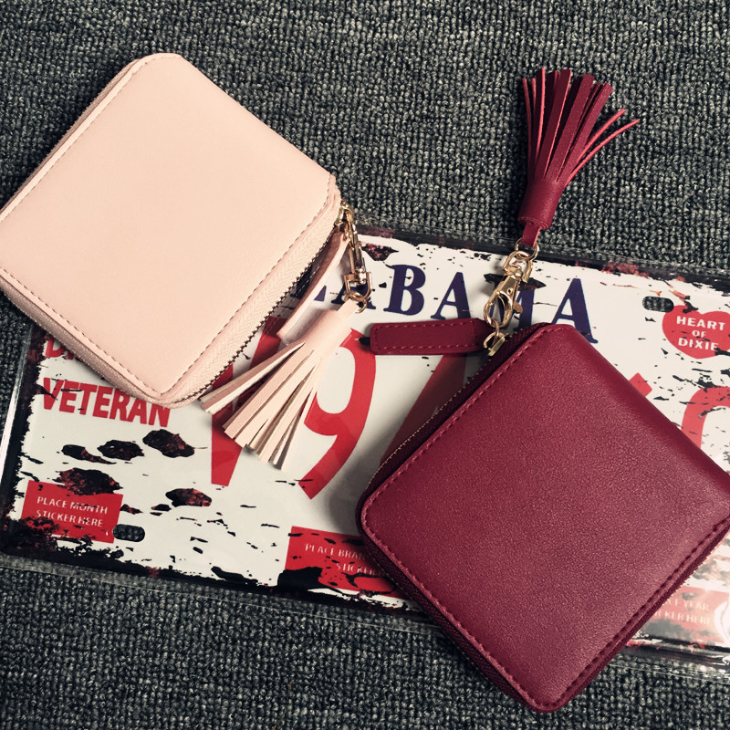 High Quality Square Women Card Coin Purses Holders Wallet Female Leather Tassel Pendant Money Wallets Hot Wine Red Clutch Bag