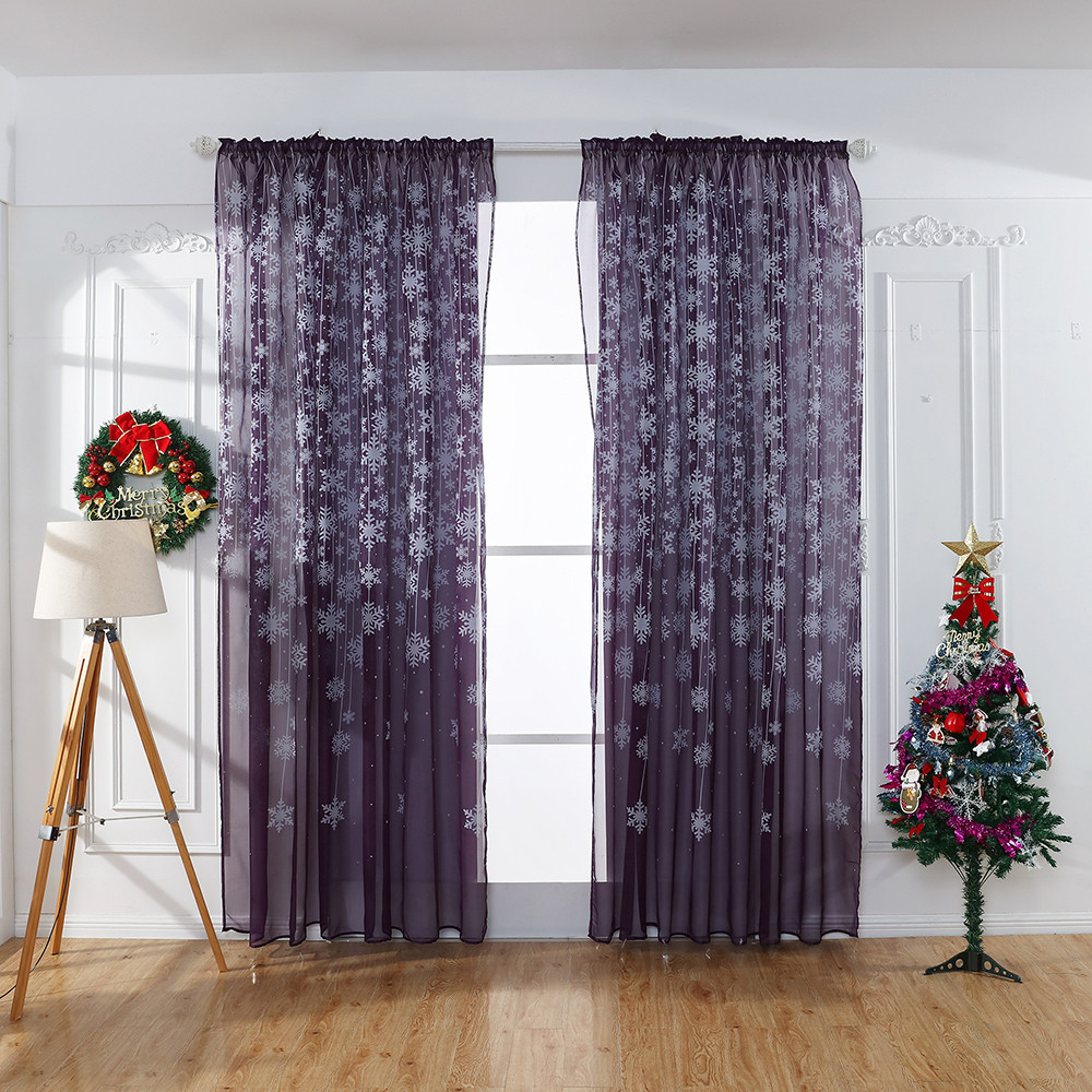1PCS Christmas Snowflake Curtain Tulle Window Treatment Voile Drape Valance New Year Decorations Home Decor#20