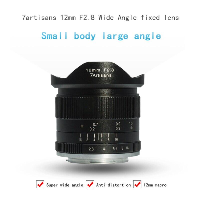 7 artisans 12mm F2.8 Caméra Objectif Ultra Grand Angle Micro Unique Premier Objectif pour Canon pour Sony pour Oympus e-montage Lentille Macro Len