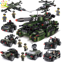 967pcs 8in1 Military Vehicle Super Tank War Plane Building Blocks Compatible Legoingly Weapon Army figure WW2 Trucks Toys Child