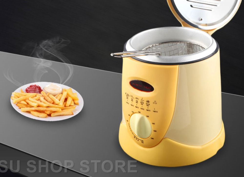 Smokeless multifunctional frying pan 0.9L Mini electric oil fryer oven French fries Grill Chicken Fried Fish Pot machine commercial double screen cylinder electric deep fryer french fries machine oven pot frying machine fried chicken row eu us plug