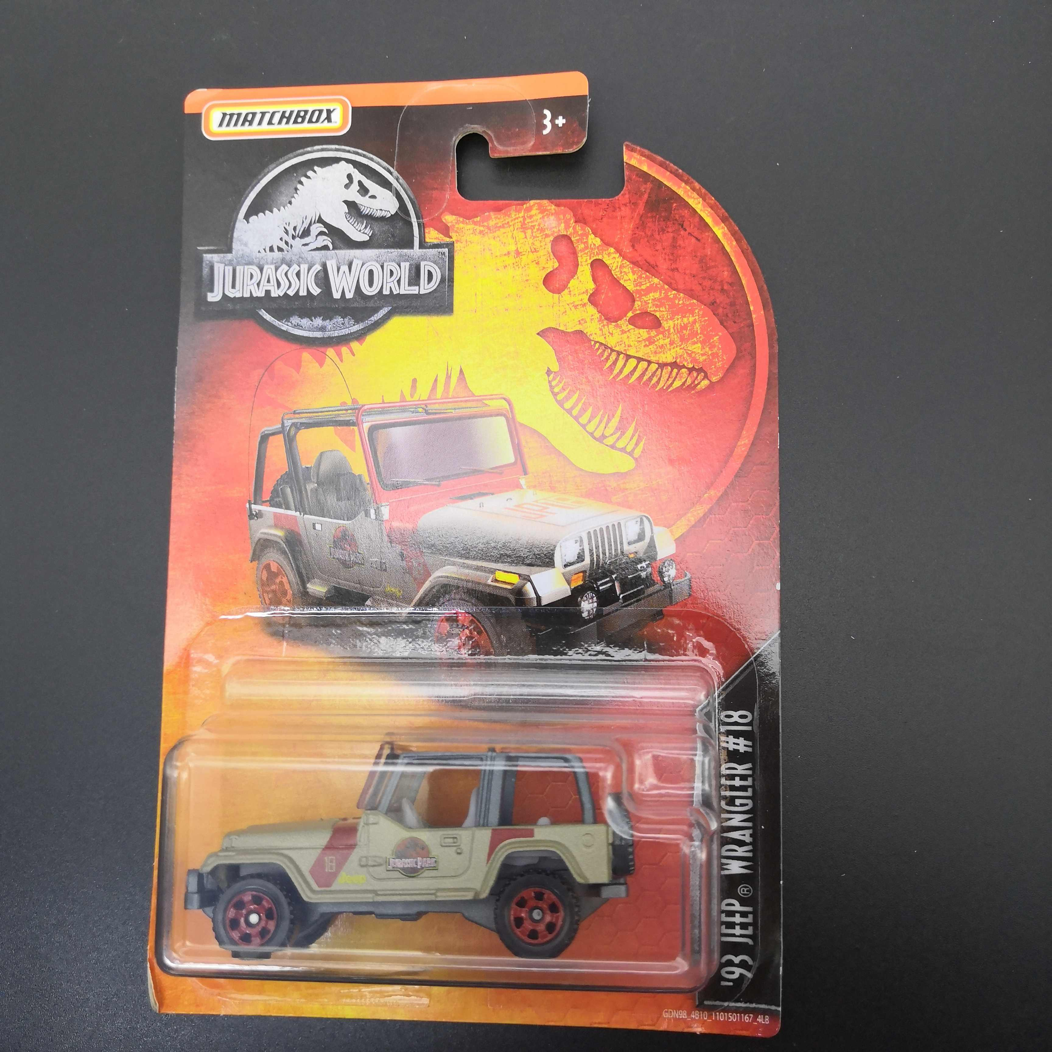 2019 Matchbox Car 1:64 Sports Car JURASSIC WORLD 93 JEEP WRANGLER 18  Metal Material Body Race Car Collection Alloy Car Gift