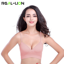 RealLion Sports Deep V Bra Fitness Gym Running Push Up Bras Tops Seamless Bra with Padding Adjustable Strap