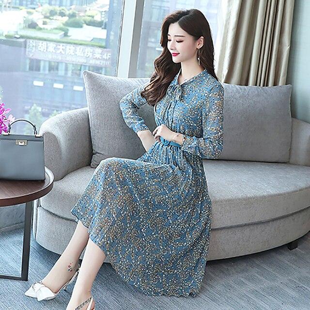 2019 Autumn Winter Vintage Chiffon Floral Midi Dress Plus Size Maxi Boho Dresses Elegant Women Party Long Sleeve Dress Vestidos 6