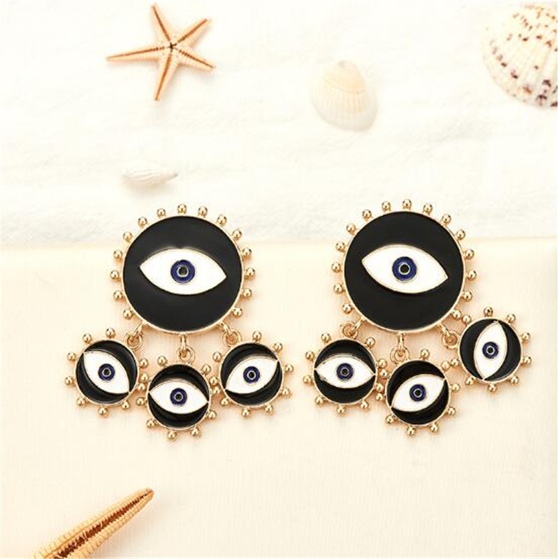 Color Black Evil Eye Big Earring Punk Exaggerated Eye Evil Drop Earring Jewelry