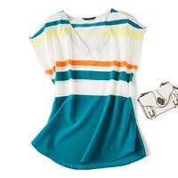Silk T, elastic, silk also has a bomb! Horizontal stripe mulberry silk shoulder sleeve shirt T shirt.