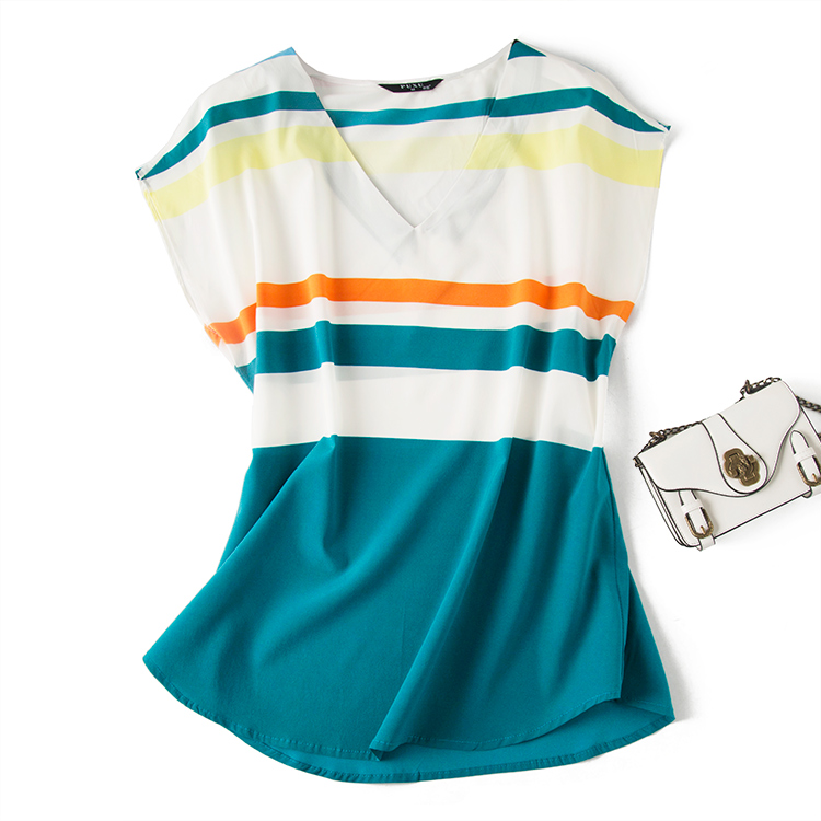 Soie T, élastique, soie également a une bombe! bande horizontale mûrier soie épaule chemise à manches T-shirt.