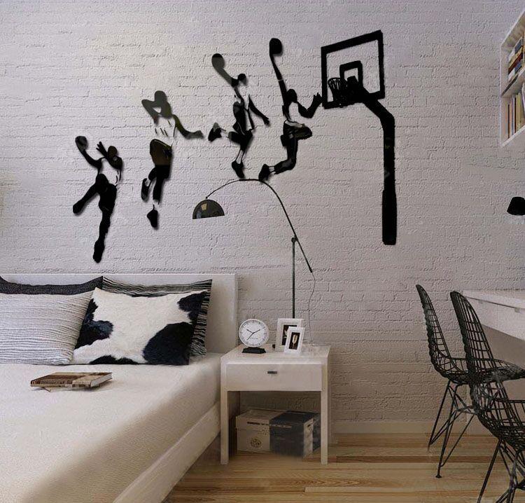 DIY 3D non-toxique Acrylique wall sticker jouer au basket Esquive mur art image de mur de maison de décoration