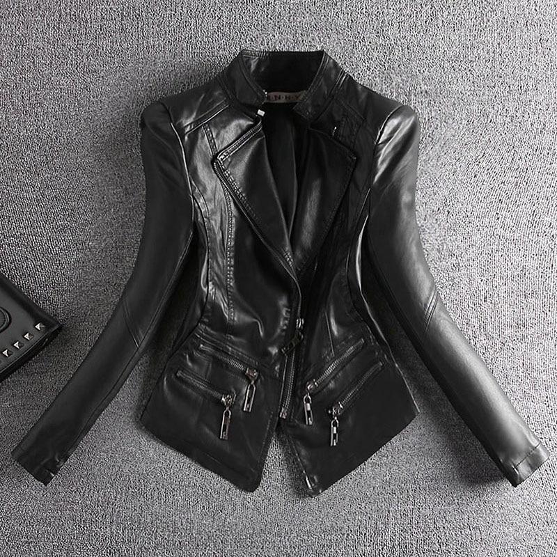 korean Women Short PU Faux Leather Black Jackets Female Slim Zipper Motorcyle Jacket Full Sleeve Coats OL Stand Collar Autumn