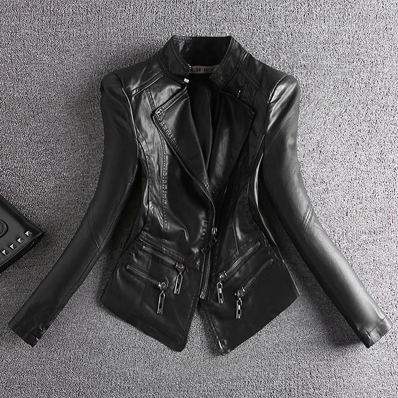 korean Women Short PU Faux   Leather   Black Jackets Female Slim Zipper Motorcyle Jacket Full Sleeve Coats OL Stand Collar Autumn