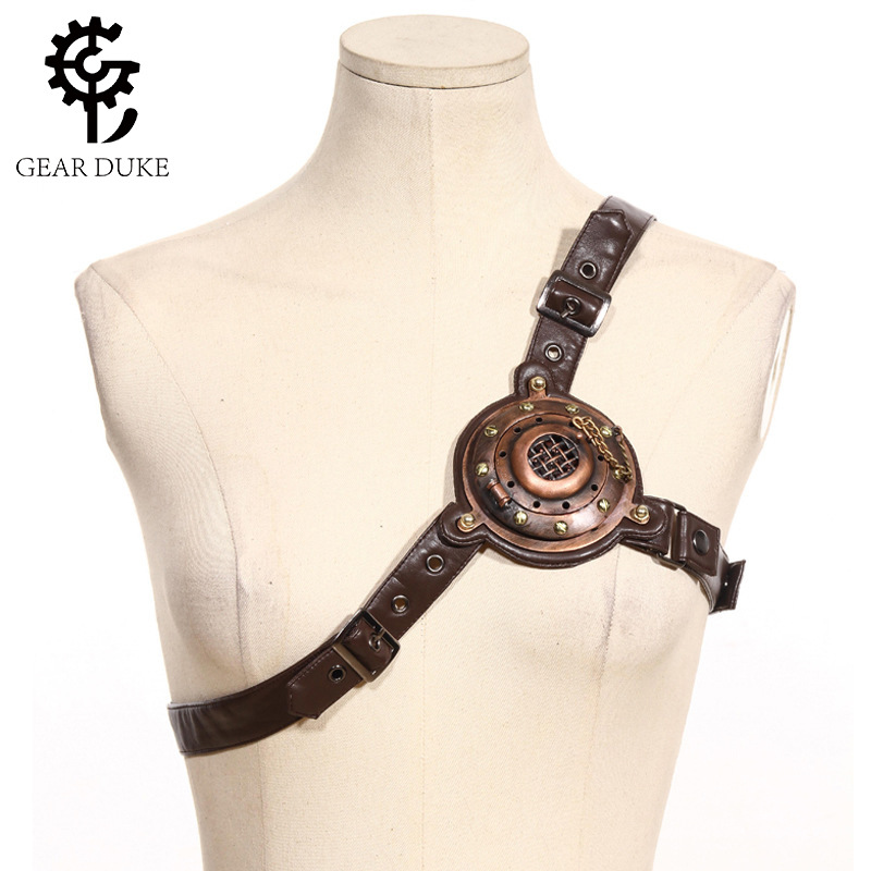 Gothic Vintage Brown Sexy PU Leather Chest Harness Straps Belt Accessory With LED Light Steampunk Victorian Chest Strap