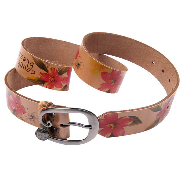 Fashion Genuine leather woman belt Pretty Floral strap for women jeans Wide Pin buckle female belts High quality second Cowskin 2