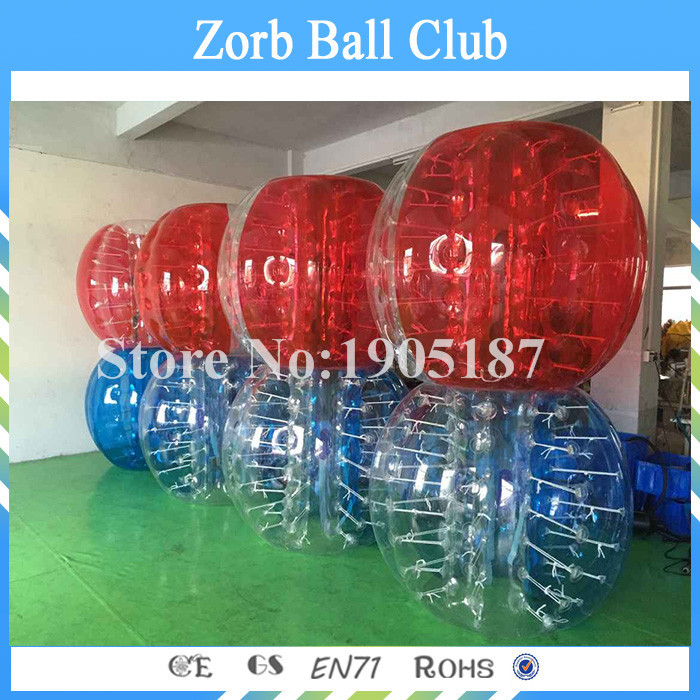Free Shipping 8PCS(4Blue+4Red+2Blower)1.5m Bubble Soccer With 0.8mm PVC, Inflatable Bubble Ball Suit, Zorb Ball, Zorb Football