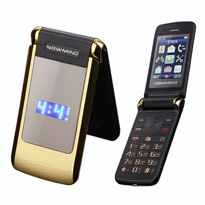 Newmind V518 flip dual double screen cellphone vibrate senior cell mobile phone Dual SIM MP3 MP4