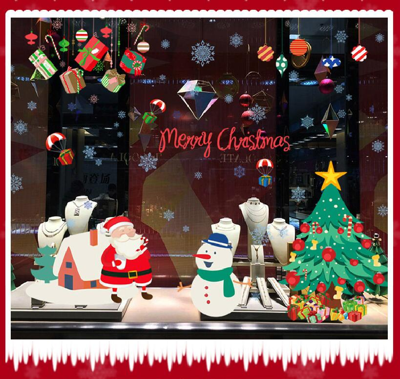 9706 Happy New Years Window Santa Claus Cristmas Tree Wall Stickers On The Wall Home Decor For Kids Rooms Free Shipping