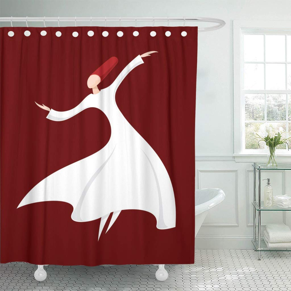 Fabric Shower Curtain With Hooks Brown Rumi Whirling Dervish Dance Mevlana Mevlevi Abstract Anatolia Culture Dress