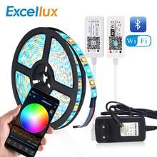 Tira de led flexível, bluetooth, wi fi, magic home, controle led, fita 5050, rgb, rgbw, rgbww, controle por aplicativo luz de fundo