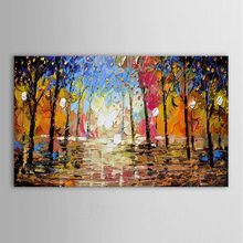 Big size 24X48inch hand painted texture landscape oil painting on canvas modern abstract colorful forest oil painting home decor