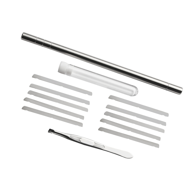 1 Set Template Hair Styling Shaping Eyebrows Beards Pen Salon Engraved Shaver Pen & 10 Blades Hair Care Tools Stainless Steel 4