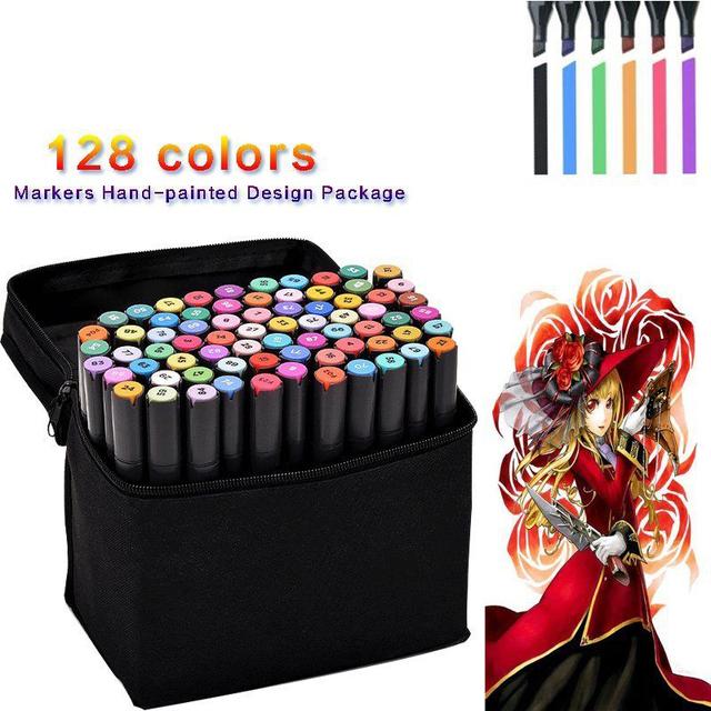 80 128 colored art markers hand painted design twin tip oily alcohol anime making