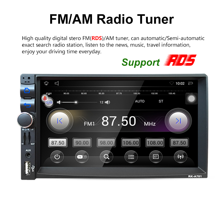 7 Inch Car DVD GPS Player Android 5.1.1 Capacitive HD Touch Screen Radio Stereo Support Camera Input And Steering Wheel Control joyous 8 hd capacitive android 4 2 stereo car dvd player w gps navi for vw passat seat skoda