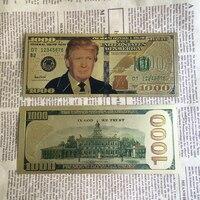 100pcs/lot Dhl free shipping wholesale America 1000/100 dollars bills golden fake money Donald Trump gold banknotes for gift