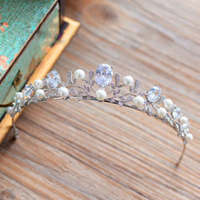 Top Quality European Brides Crown Cubic Zirconia Tiara Crystal Headpieces Evening Hair Accessories