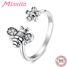 MISSITA 100% 925 Sterling Silver Bee Flower Rings For Women Jewelry Brand Romantic Wedding Finger Ring anillos mujer