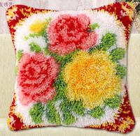 Diy Handkerchief Knitted Carpet Unfinished Pillow Embroidery Carpet Free Shipping Latch Hook Hold Pillow Flowers