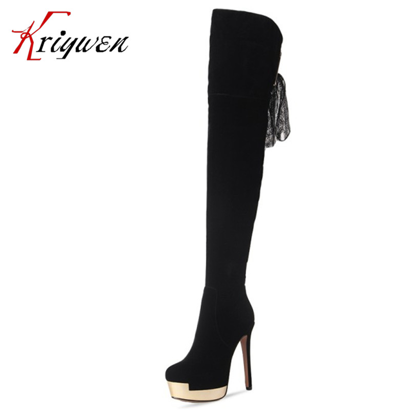 2017 new winter arrival long boots for women over the knee thigh boots high heel flock shoes club boots botas mujer femininas women over the knee boots black velvet long boots ladies high heel boots sexy winter shoes chunky heel thigh high boots
