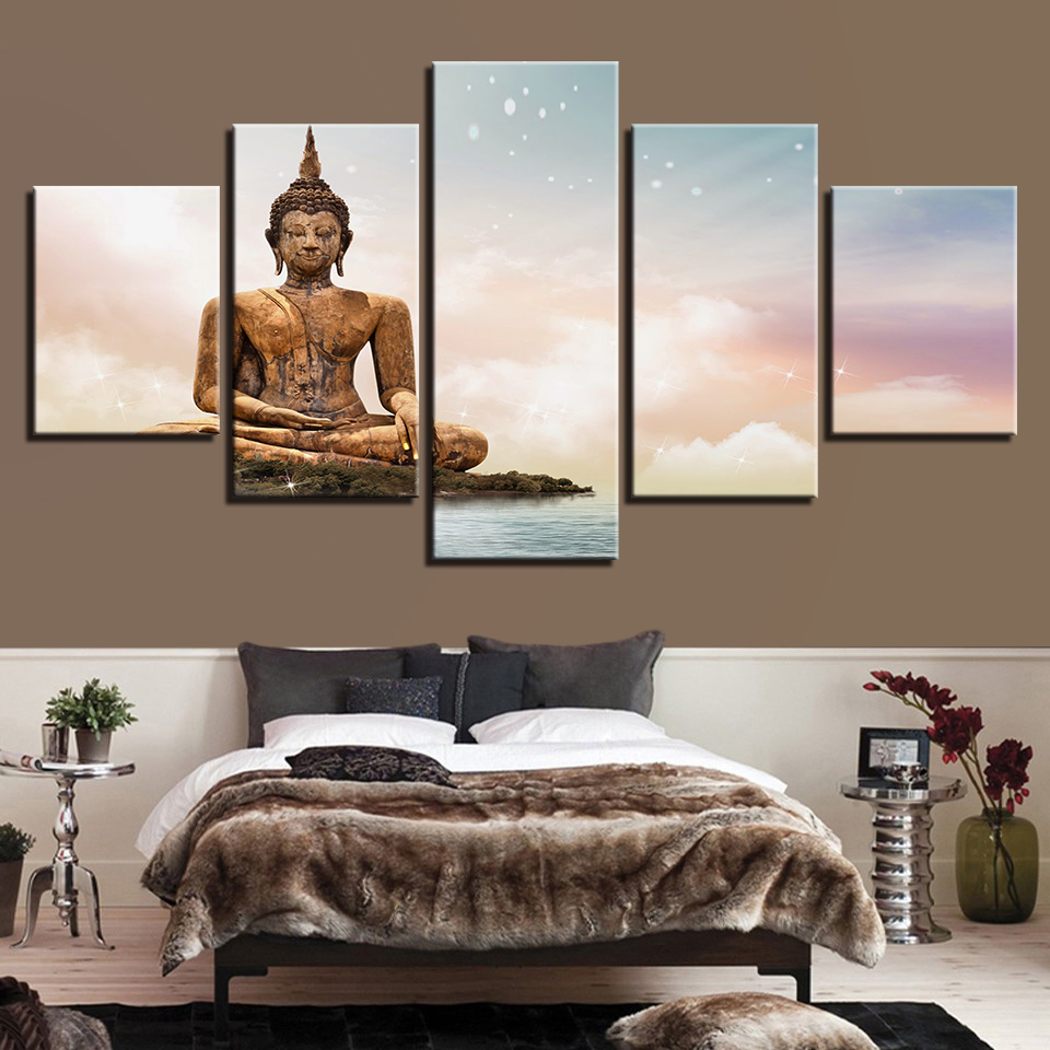 HD Printed Modern Painting On Canvas 5 Panel Bronze Buddha Modular Picture Wall Art Home Decoration Posters Frame Living Room