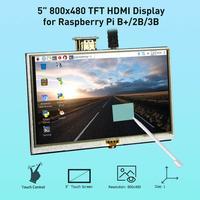 Elecrow LCD 5 بوصة التوت بي 3 عرض اللمس شاشة HDMI 800x480 5