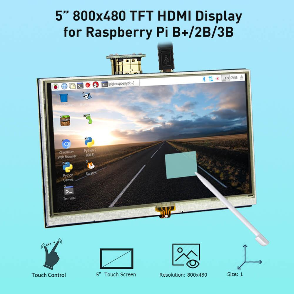 """Elecrow LCD 5 Inch Raspberry Pi 3 Display Touch Screen HDMI 800x480 5"""" Monitor TFT with Touch Pen for Banana Pi Raspberry Pi 2 3"""