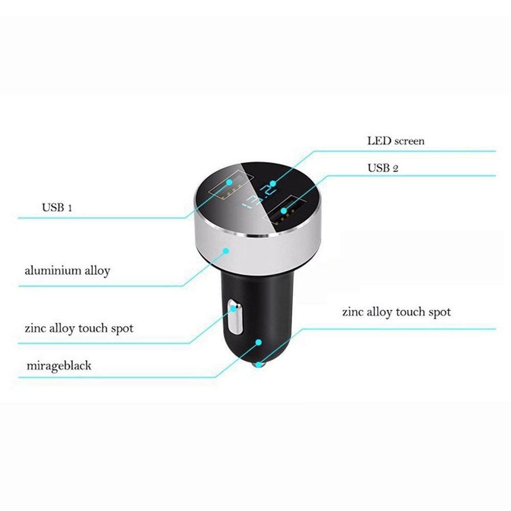 Vehemo ЖК-дисплей двойной usb-авто зарядное устройство Автомобильное быстрое зарядное устройство телефон Универсальный коврик напряжения автомобильное зарядное устройство адаптивный gps-навигатор